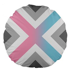 Flag X Blue Pink Grey White Chevron Large 18  Premium Flano Round Cushions by Alisyart