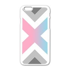 Flag X Blue Pink Grey White Chevron Apple Iphone 6/6s White Enamel Case by Alisyart