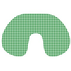 Green Tablecloth Plaid Line Travel Neck Pillows by Alisyart