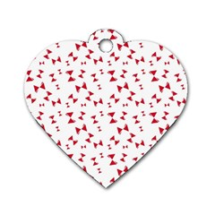 Hour Glass Pattern Red White Triangle Dog Tag Heart (one Side) by Alisyart