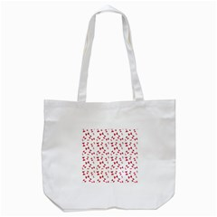 Hour Glass Pattern Red White Triangle Tote Bag (white) by Alisyart
