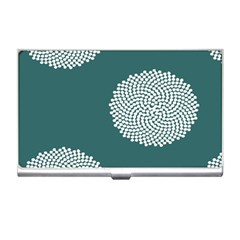 Green Circle Floral Flower Blue White Business Card Holders by Alisyart
