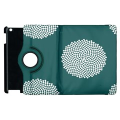 Green Circle Floral Flower Blue White Apple Ipad 2 Flip 360 Case by Alisyart