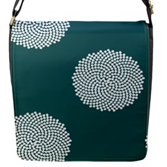 Green Circle Floral Flower Blue White Flap Messenger Bag (s) by Alisyart
