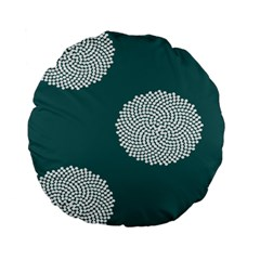 Green Circle Floral Flower Blue White Standard 15  Premium Flano Round Cushions by Alisyart