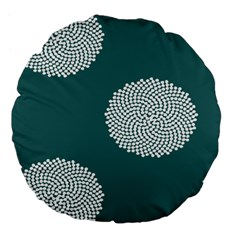 Green Circle Floral Flower Blue White Large 18  Premium Flano Round Cushions by Alisyart