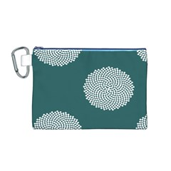 Green Circle Floral Flower Blue White Canvas Cosmetic Bag (m) by Alisyart
