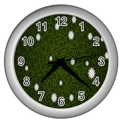 Graphics Green Leaves Star White Floral Sunflower Wall Clocks (silver)  by Alisyart