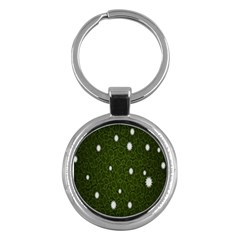 Graphics Green Leaves Star White Floral Sunflower Key Chains (round)  by Alisyart