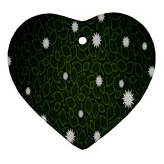 Graphics Green Leaves Star White Floral Sunflower Heart Ornament (two Sides) by Alisyart