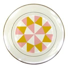 Learning Connection Circle Triangle Pink White Orange Porcelain Plates by Alisyart