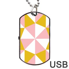 Learning Connection Circle Triangle Pink White Orange Dog Tag Usb Flash (two Sides) by Alisyart