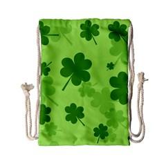 Leaf Clover Green Line Drawstring Bag (small) by Alisyart