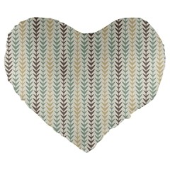 Leaf Triangle Grey Blue Gold Line Frame Large 19  Premium Heart Shape Cushions by Alisyart