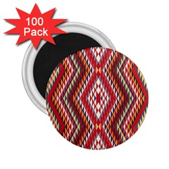 Indian Pattern Sweet Triangle Red Orange Purple Rainbow 2 25  Magnets (100 Pack)  by Alisyart