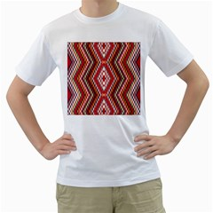 Indian Pattern Sweet Triangle Red Orange Purple Rainbow Men s T Shirt (white) (two Sided)