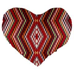 Indian Pattern Sweet Triangle Red Orange Purple Rainbow Large 19  Premium Heart Shape Cushions by Alisyart