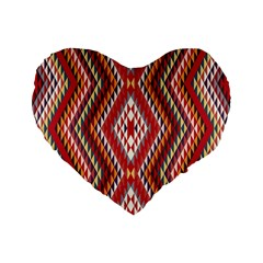 Indian Pattern Sweet Triangle Red Orange Purple Rainbow Standard 16  Premium Flano Heart Shape Cushions by Alisyart