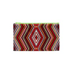 Indian Pattern Sweet Triangle Red Orange Purple Rainbow Cosmetic Bag (xs) by Alisyart