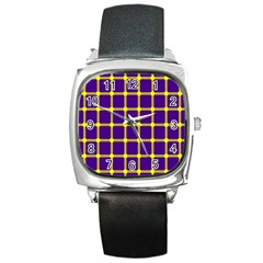 Optical Illusions Circle Line Yellow Blue Square Metal Watch by Alisyart
