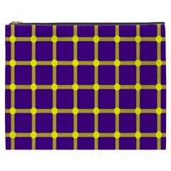 Optical Illusions Circle Line Yellow Blue Cosmetic Bag (xxxl)  by Alisyart