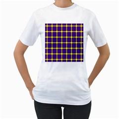 Optical Illusions Circle Line Yellow Blue Women s T Shirt (white)  by Alisyart