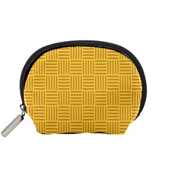 Plaid Line Orange Yellow Accessory Pouches (small)  by Alisyart