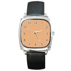 Orange Tablecloth Plaid Line Square Metal Watch by Alisyart