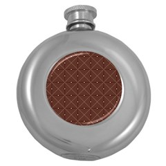 Coloured Line Squares Plaid Triangle Brown Line Chevron Round Hip Flask (5 Oz) by Alisyart