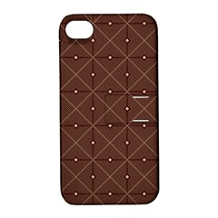 Coloured Line Squares Plaid Triangle Brown Line Chevron Apple Iphone 4/4s Hardshell Case With Stand by Alisyart