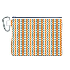 Sunflower Orange Gold Blue Floral Canvas Cosmetic Bag (l) by Alisyart