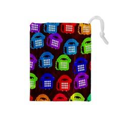 Grunge Telephone Background Pattern Drawstring Pouches (medium)  by Amaryn4rt