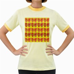 Funny Faces Women s Fitted Ringer T Shirts by Amaryn4rt