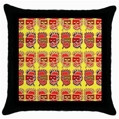 Funny Faces Throw Pillow Case (Black)