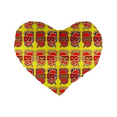 Funny Faces Standard 16  Premium Heart Shape Cushions by Amaryn4rt