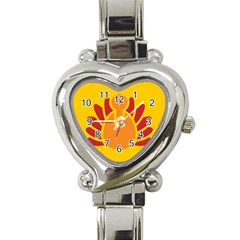 Animals Bird Pet Turkey Red Orange Yellow Heart Italian Charm Watch by Alisyart