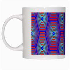 Red Blue Bee Hive Pattern White Mugs by Amaryn4rt