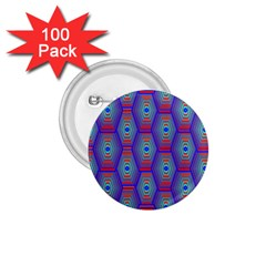 Red Blue Bee Hive Pattern 1 75  Buttons (100 Pack)