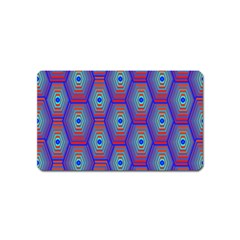 Red Blue Bee Hive Pattern Magnet (name Card) by Amaryn4rt