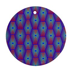 Red Blue Bee Hive Pattern Round Ornament (two Sides) by Amaryn4rt