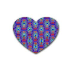 Red Blue Bee Hive Pattern Rubber Coaster (heart)  by Amaryn4rt