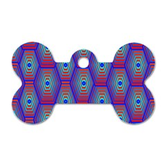 Red Blue Bee Hive Pattern Dog Tag Bone (one Side) by Amaryn4rt