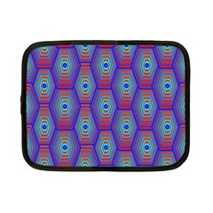 Red Blue Bee Hive Pattern Netbook Case (small)  by Amaryn4rt