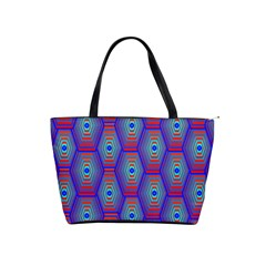 Red Blue Bee Hive Pattern Shoulder Handbags by Amaryn4rt
