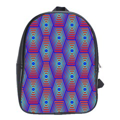 Red Blue Bee Hive Pattern School Bags(large)  by Amaryn4rt