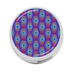 Red Blue Bee Hive Pattern 4 Port Usb Hub (one Side) by Amaryn4rt
