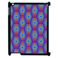 Red Blue Bee Hive Pattern Apple Ipad 2 Case (black) by Amaryn4rt