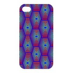 Red Blue Bee Hive Pattern Apple Iphone 4/4s Hardshell Case by Amaryn4rt