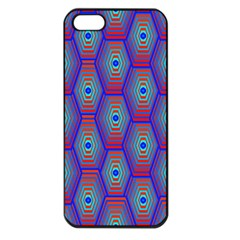 Red Blue Bee Hive Pattern Apple Iphone 5 Seamless Case (black) by Amaryn4rt