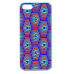 Red Blue Bee Hive Pattern Apple Seamless Iphone 5 Case (color) by Amaryn4rt